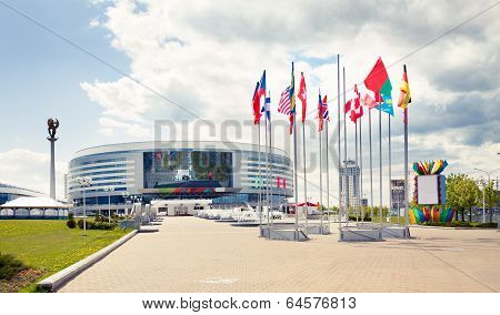 MINSK, BELARUS - MAY 4 - Minsk Arena on May 4, 2014 in Belarus. Ice Hockey Stadium.