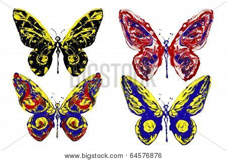 Red Blue Black Yellow Paint Made Butterfly Set