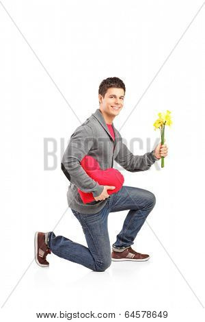 Guy crouching down on his knee with a bunch of tulips isolated on white background