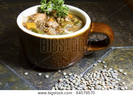 Lentil, Escarole and Italian Sausage Soup