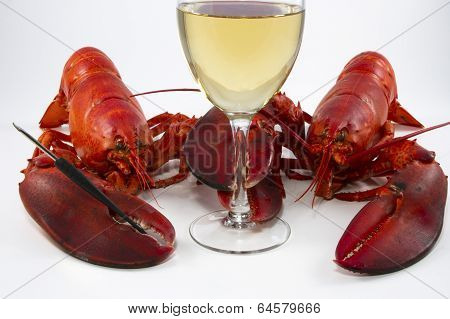 Lobster for Two with Wine Glass