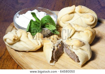 Meat Fayatyeers with Mint and Yogurt