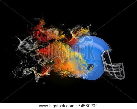 American football helmet in the colored smoke