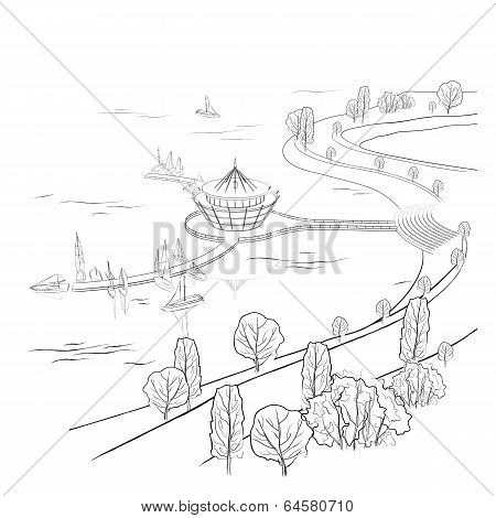 Vector linear landscape with quay and boats
