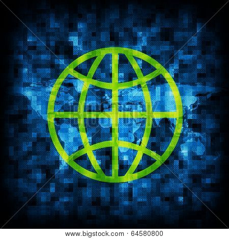 Abstract background is binary code and globe