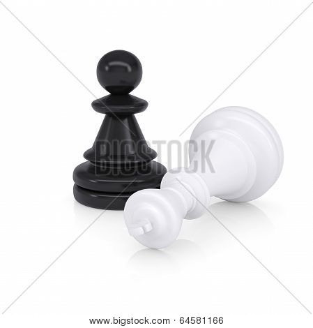 White defeated chess king is near black pawns