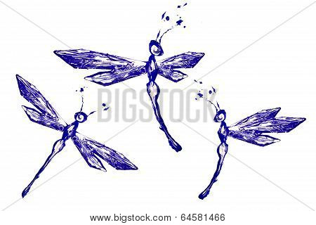 White Blue Paint Made Dragonfly Set