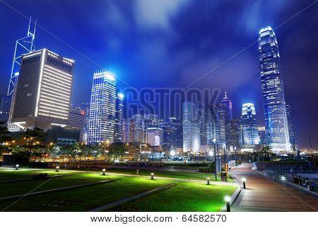 Park in HongKong City at night