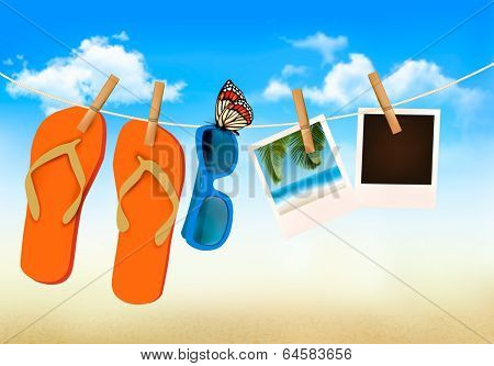 Flip flops, sunglasses and photo cards hanging on a rope. Summer memories background. Raster version