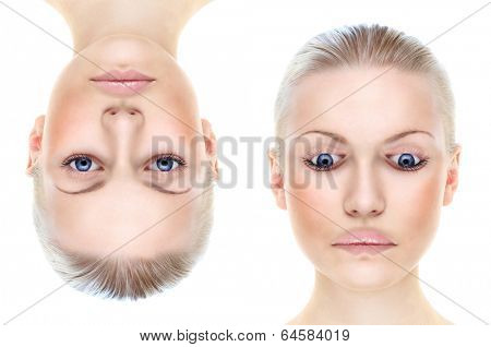 Woman's portrait isolated on white, Thatcher effect, illusion.The effect is illustrated by two identical photos, which are inverted.