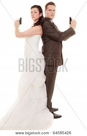Wedding Couple. Bride Groom With Handgun Weapon
