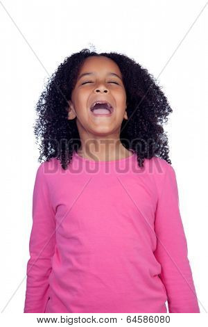 Noisy little girl shouting isolated on a white background