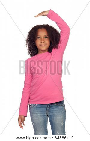 African girl measuring what has grown isolated on white background