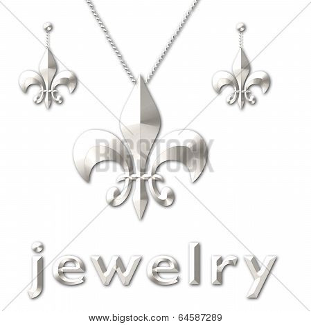 Silver Fleur De Lis Necklace Earring Set
