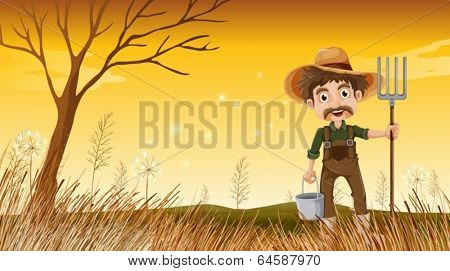 Illustration of a smiling old gardener