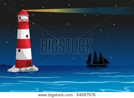 Illustration of a lighthouse in the middle of the ocean