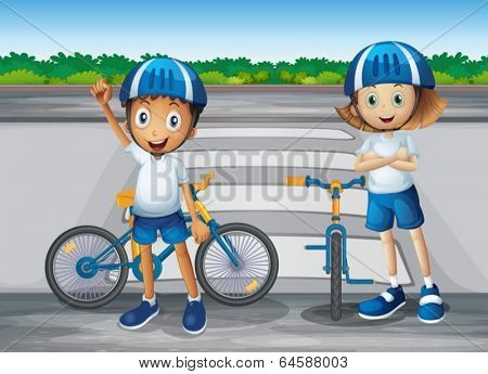 Illustration of a girl and a boy with their bikes standing near the pedestrian lane