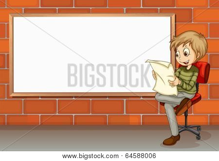 Illustration of a businessman reading beside the empty board