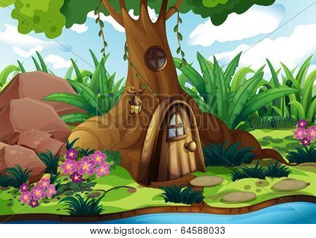 Illustration of a treehouse at the forest