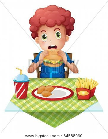Illustration of a curly-haired boy eating at a fastfood restaurant on a white background