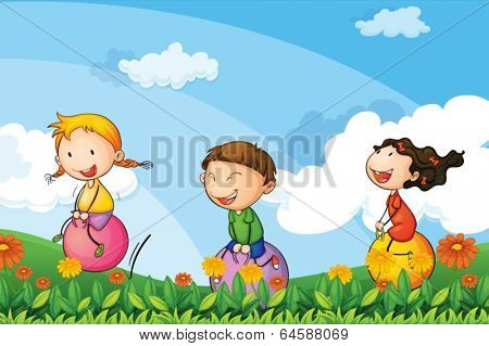 Illustration of the kids playing with the bouncing balloons