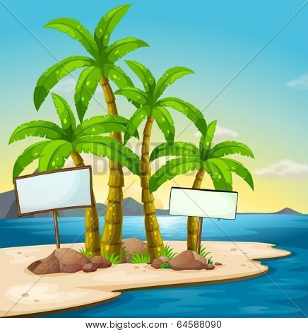 Illustration of an island with signboards