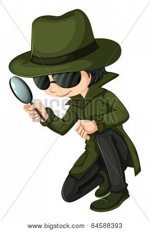 Illustration of a smart young detective on a white background