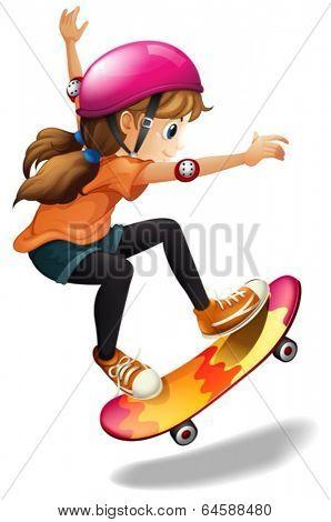 Illustration of a girl skateboarding on a white background