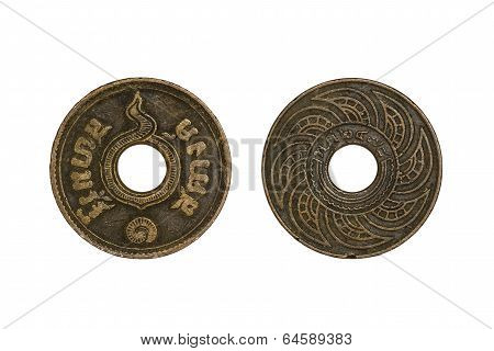 Old Thai Coins 1 Satang Year 1935 Isolated On White Background