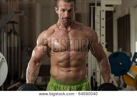 Bodybuilder Working Out Biceps In A Health Club