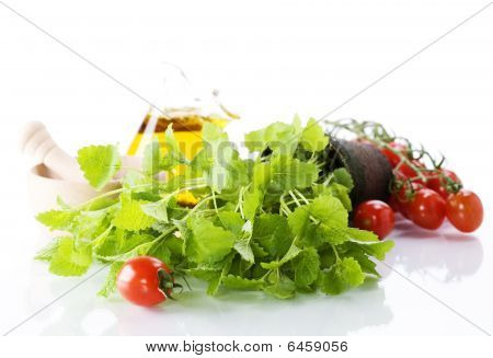 Herbs, Vegetables And Olive Oil