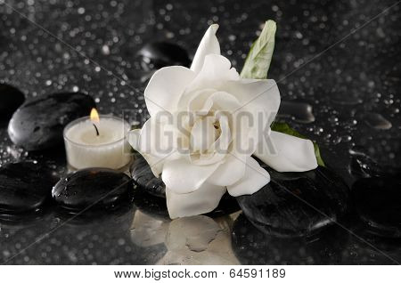 spa concept �¢�?�?gardenia flower with candle