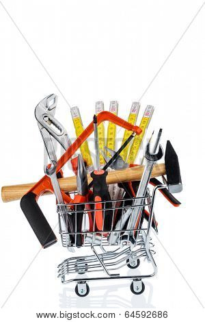 hand tool in a shopping cart icon photo for crafts, tools and materials procurement