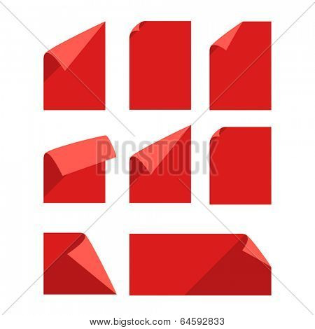 Collection of color blank paper sheets with bending corners isolated on white