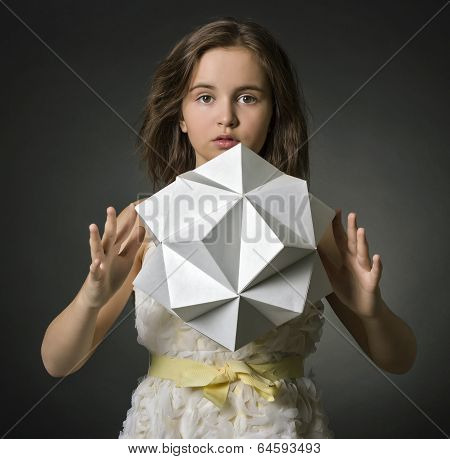 Portrait teen girl with paper in hand polygon figure.