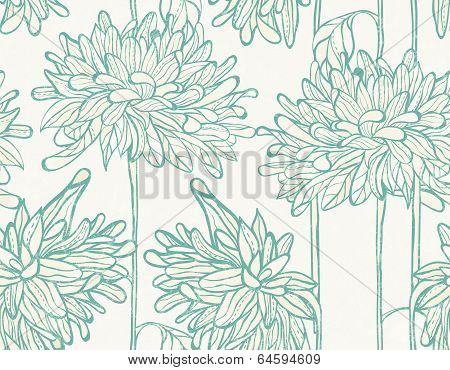 Hand drawn pattern with chrysanthemum.