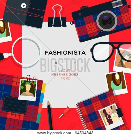 Fashionista template with accessories