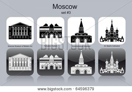 Landmarks of Moscow. Set of monochrome icons. Editable vector illustration.