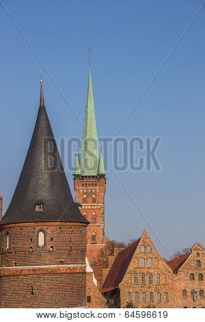 Holstein Gate, Salt Storehouses And Petri Church In Lubeck