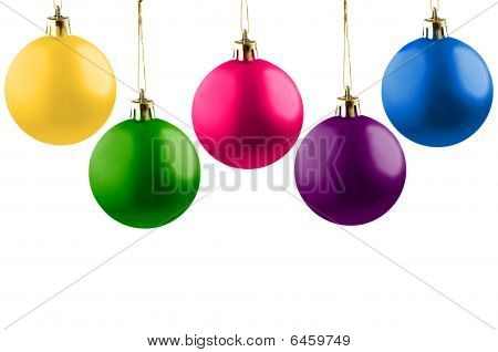 Five cheerful Christmas balls.