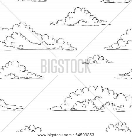 Black and white cartoon fluffy vintage clouds in the sky seamless background, vector