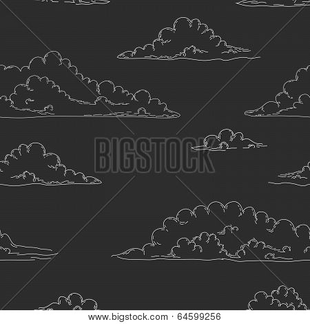 White cartoon fluffy vintage clouds in the grey sky seamless background, vector
