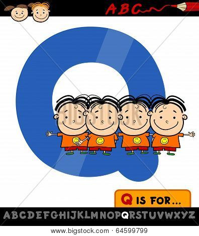 Letter Q With Quadruplets Illustration