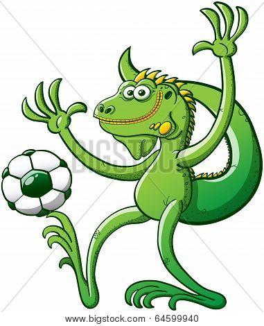 Iguana playing soccer