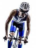 stock photo of triathlon  - man triathlon iron man athlete bikers cyclists bicycling biking  in silhouettes on white background - JPG