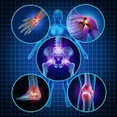 stock photo of osteoporosis  - Painful joints human anatomy concept with the body as a group of circular panels of sore areas as a pain and injury or arthritis illness symbol for health care and medical symptoms due to aging or sports and work injury - JPG