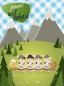foto of lederhosen  - bavarian background with traditional people and text that means yes let - JPG