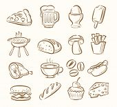 stock photo of drawing beer  - vector hand draw kitchen icon set on beige - JPG