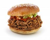 foto of pulling  - pulled pork sandwich isolated on white background - JPG