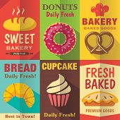 stock photo of flat-bread  - Bakery posters set with flat design - JPG